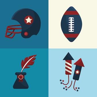 Définir des icônes d'éléments de la tradition américaine