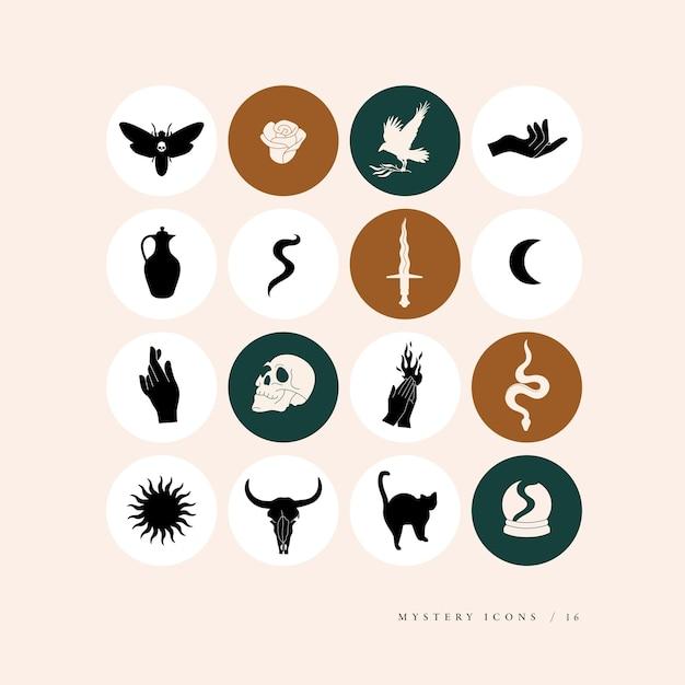 Définir des icônes et des emblèmes mystiques