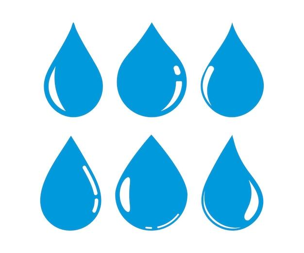 Définir des icônes de goutte d'eau bleue. illustration vectorielle