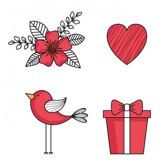 Définir des icônes de joyeux saint valentin