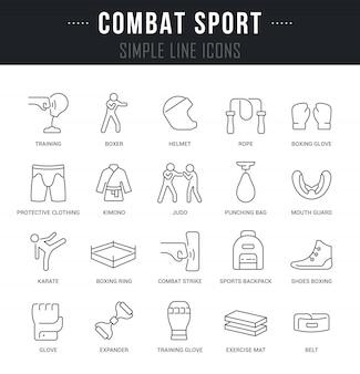 Définir les icônes de ligne vectorielle du sport de combat.