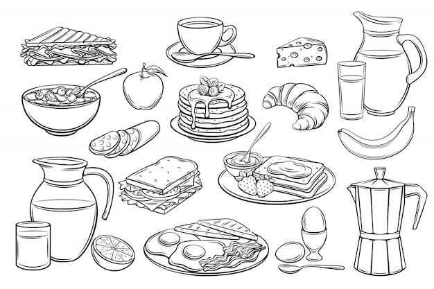 Définir des icônes de petit déjeuner