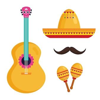 Définir des icônes traditionnelles, célébration de l'indépendance du mexique