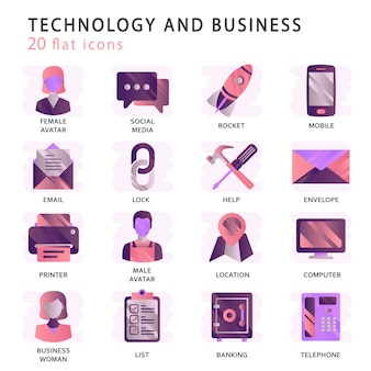 Définir des icônes vectorielles avec des éléments pour les concepts mobiles et les applications web