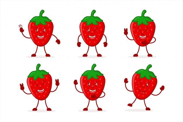Définir l'illustration de caractère mignon fraise