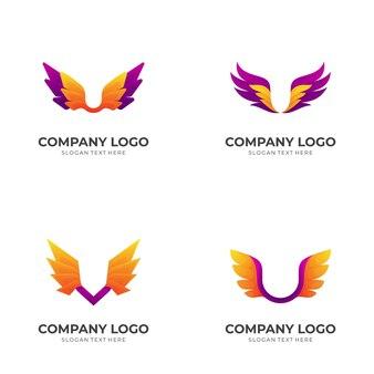 Définir l'illustration de la conception du logo de l'aile, style coloré 3d