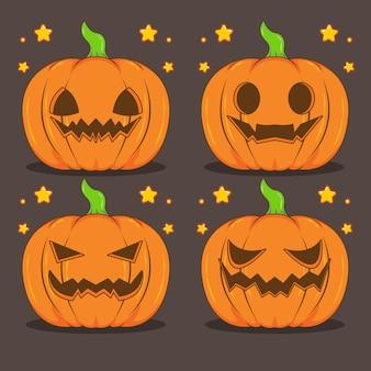Définir l'illustration de dessin animé de citrouilles d'halloween