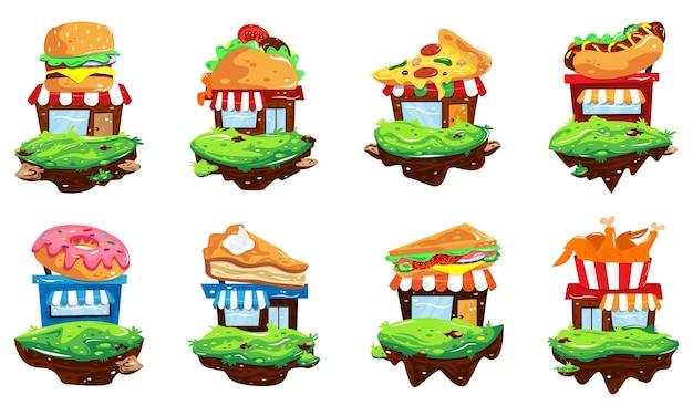 Définir l'illustration de dessin animé de magasins de restauration rapide