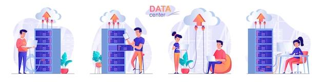 Définir l'illustration du concept de design plat du centre de données des personnages de personnes