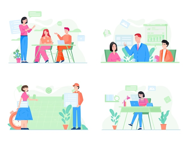 Définir l'illustration d'une équipe discuter d'un nouveau produit commercial