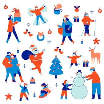 Définir l'illustration de groupe des vacances de noël et d'hiver