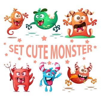 Définir l'illustration de monstre mignon.