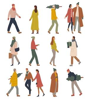 Définir l'illustration de personnes dans des vêtements d'hiver chauds