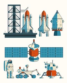 Définir une illustration plate du vecteur sur le thème de l'espace