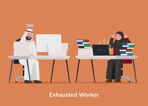 Définir l'illustration travailleur épuisé arabe