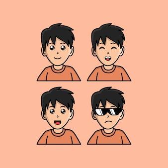 Définir l'illustration vectorielle de l'homme de dessin animé mignon kawaii