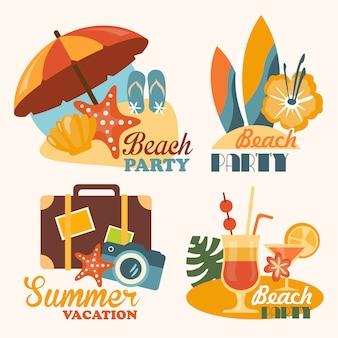 Définir des illustrations de voyage et de vacances dans un style plat