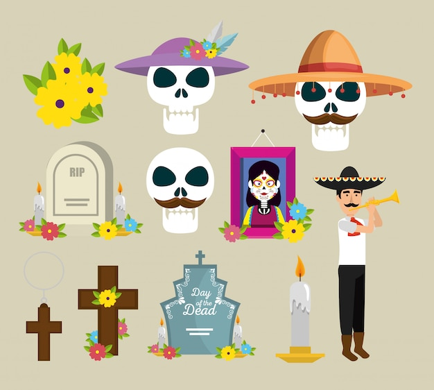 Définir une image et des fleurs pour célébrer le jour des morts