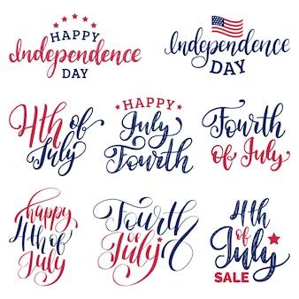 Définir des inscriptions de lettrage à la main du 4 juillet pour les cartes de voeux, les bannières, etc. collection calligraphique de joyeux jour de l'indépendance des états-unis d'amérique. fond de vacances.