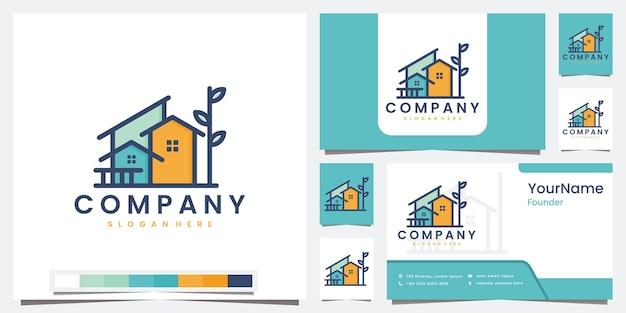 Définir le jardin de la maison de logo avec le logo d'art de ligne d'arbre