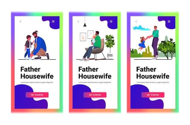 Définir le jeune père passer du temps avec son enfant parentalité concept de paternité smartphone écrans collection pleine longueur copie horizontale illustration vectorielle espace