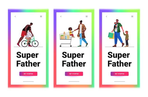 Définir les jeunes pères passer du temps avec les enfants paternité concept parental horizontal
