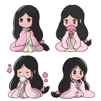 Définir la jolie fille japonaise en costume de princesse. caricature de personnage