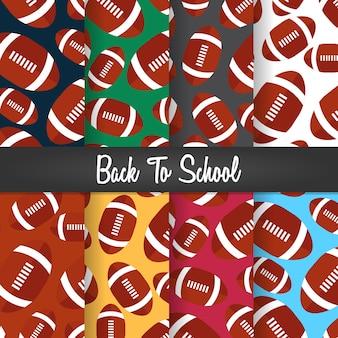 Définir l'arrière-plan de retour à l'école illustration de papier peint motif ballon de rugby