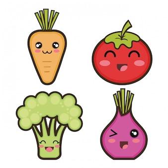 Définir des légumes de dessin animé