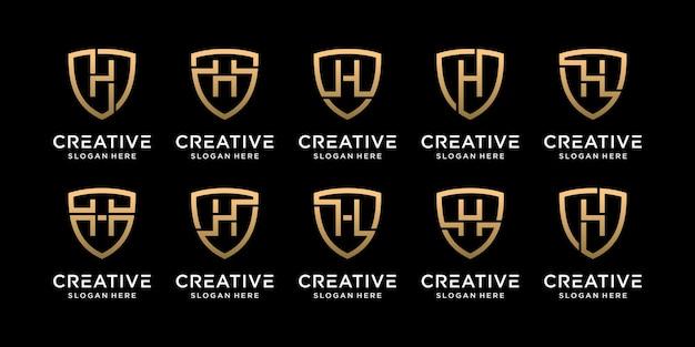 Définir la lettre initiale de conception de logo de bouclier monogramme bundle h avec style linéaire vecteur premium