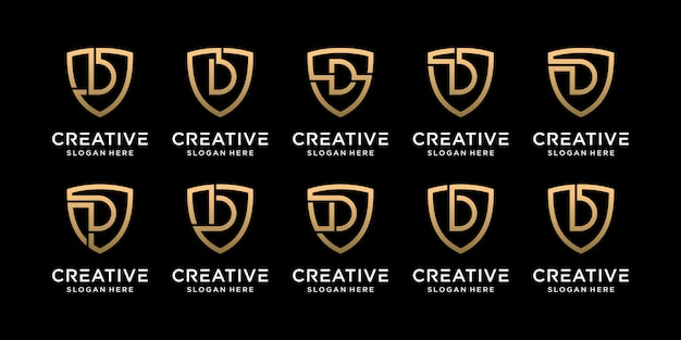 Définir la lettre initiale de conception de logo de bouclier monogramme bundle d avec style linéaire vecteur premium