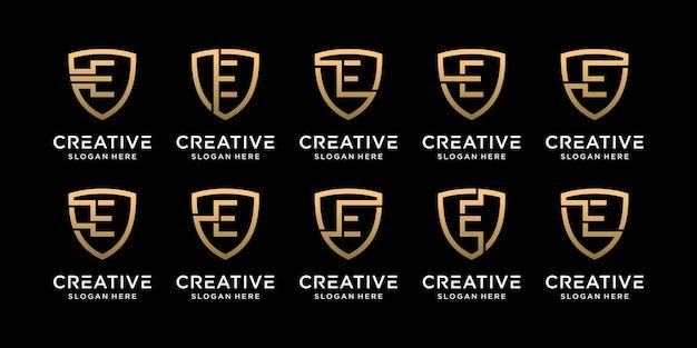 Définir la lettre initiale de conception de logo de bouclier monogramme de paquet e avec un style linéaire vecteur premium