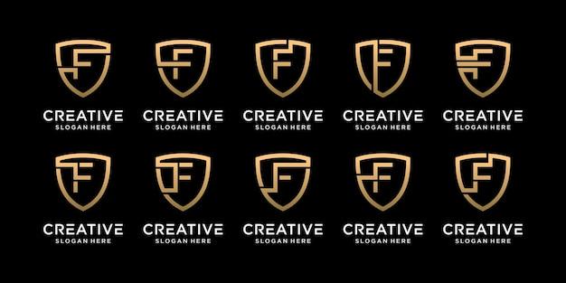 Définir la lettre initiale de conception de logo de bouclier monogramme de paquet f avec un style linéaire vecteur premium