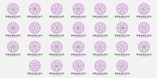 Définir la lettre a à z avec la conception de logo d'ornement de fleur