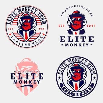 Définir le logo de l'agent singe singe vecteur emblème