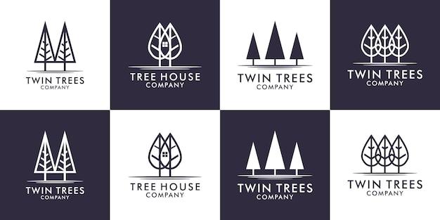 Définir le logo des arbres simples avec le vecteur de conception de style art en ligne