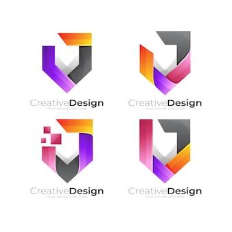Définir le logo du bouclier avec un design coloré, icône de sécurité