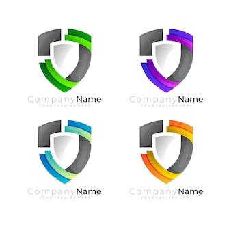 Définir le logo du bouclier avec un modèle de conception coloré, 3d coloré