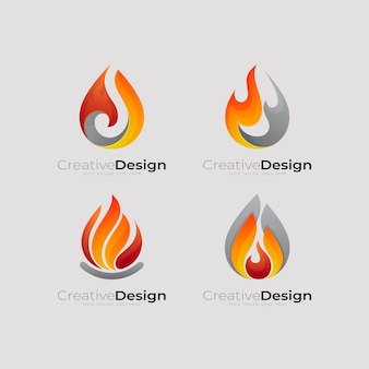 Définir Le Logo Du Feu Et La Combinaison De Conception, Feu Simple Vecteur Premium