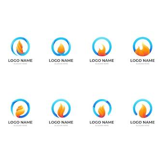 Définir le logo du feu, le feu et le cercle, logo combiné avec 3d
