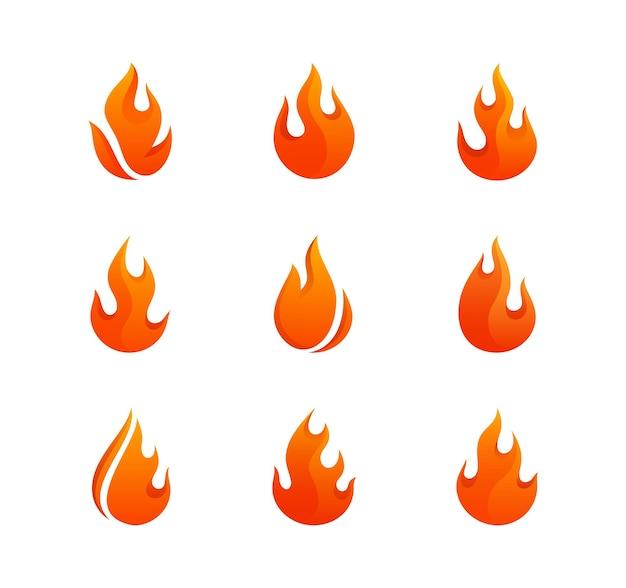Définir le logo du feu. pack de neuf flammes aux formes abstraites.