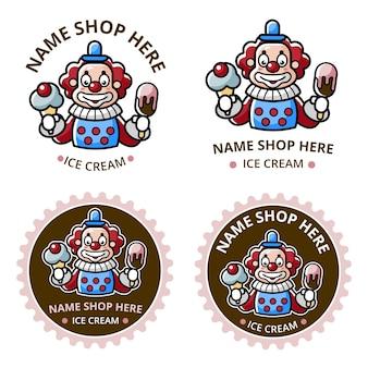 Définir le logo du magasin de crème glacée avec la mascotte de clown
