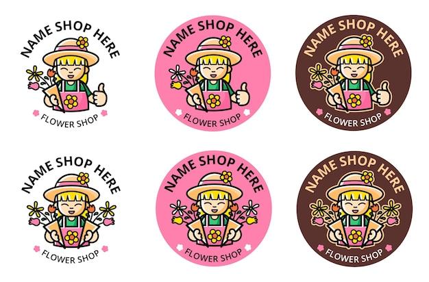 Définir le logo du magasin de fleurs avec la mascotte de fille de dessin animé