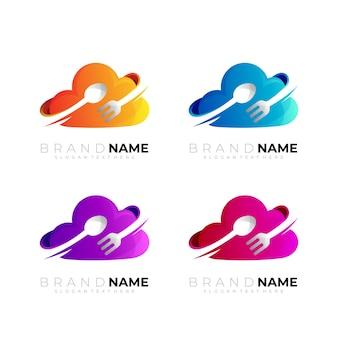 Définir le logo du nuage avec un design de cuillère et de fourchette