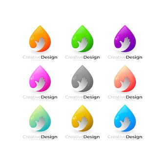Définir le logo de la goutte d'eau et la combinaison de conception de personnes à main, logos colorés