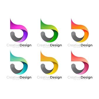 Définir le logo de la lettre b et l'icône colorée 3d, style simple