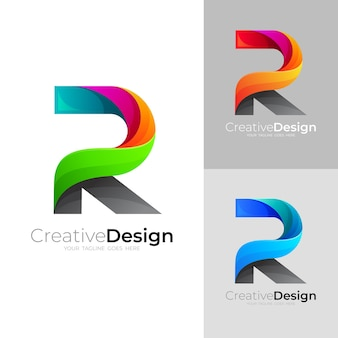 Définir le logo de la lettre de combinaison r, style 3d