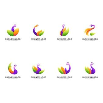Définir le logo de paon avec illustration de conception colorée, modèle de conception 3d