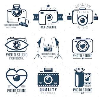 Définir le logo de studio de caméra. élément web