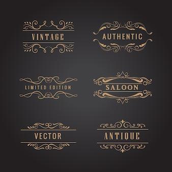 Définir le logo vintage de luxe ornements rétro